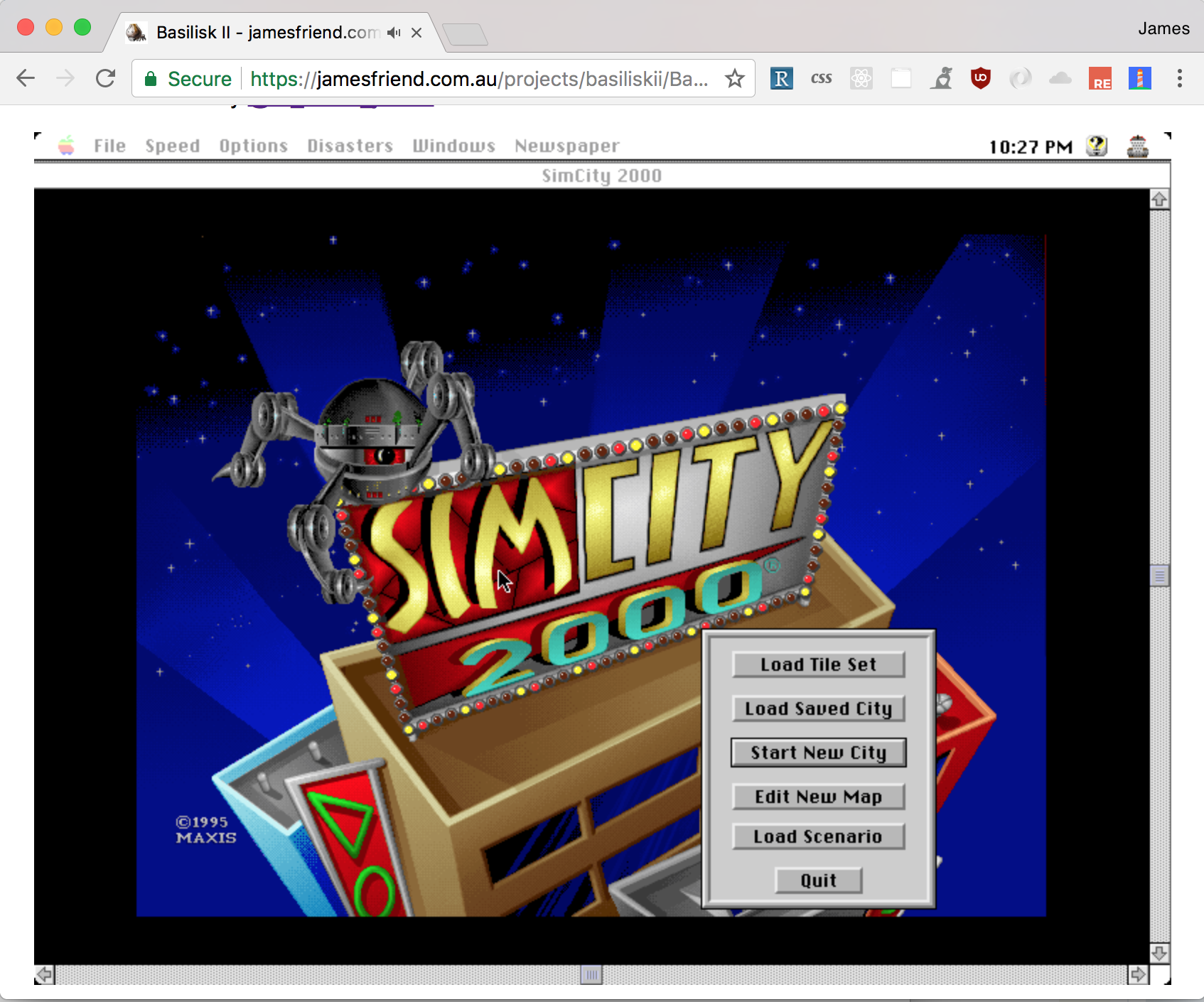 Screenshot of Basilisk II in the browser
