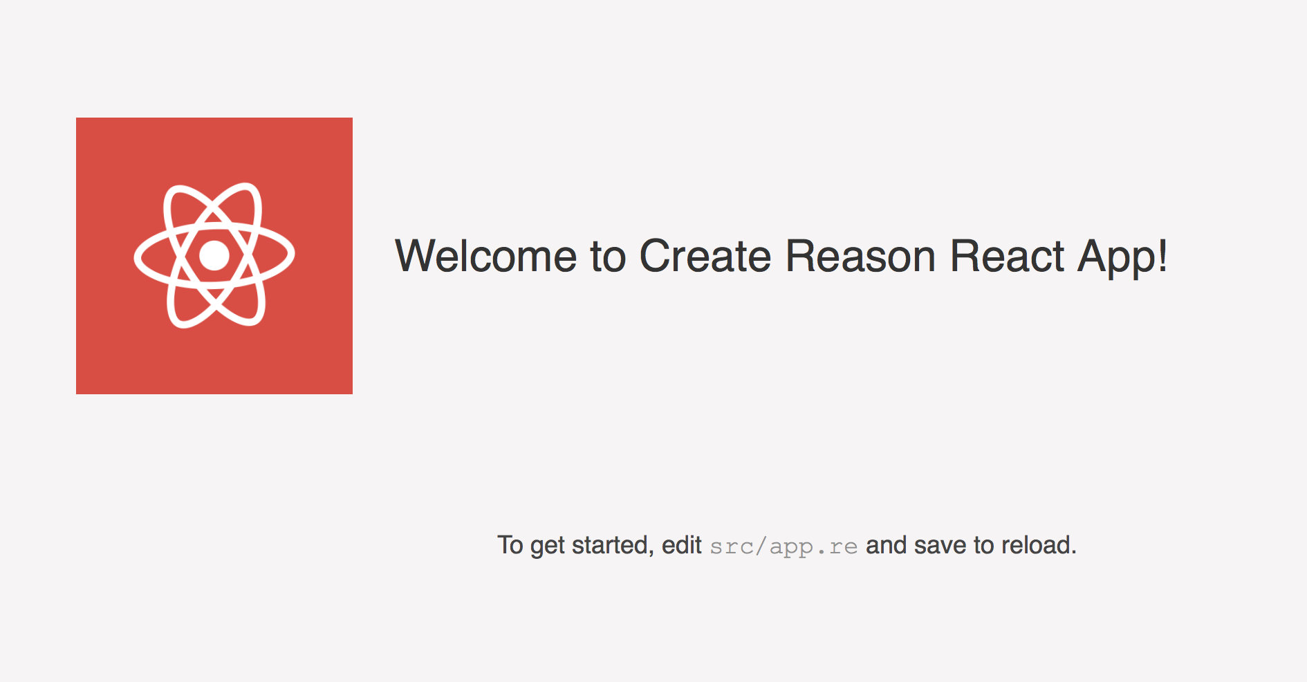 Screenshot of Create Reason React App blank slate