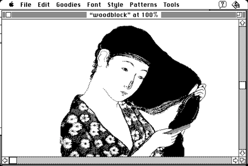 Screenshot of MacPaint showing the 'woodblock' demo image