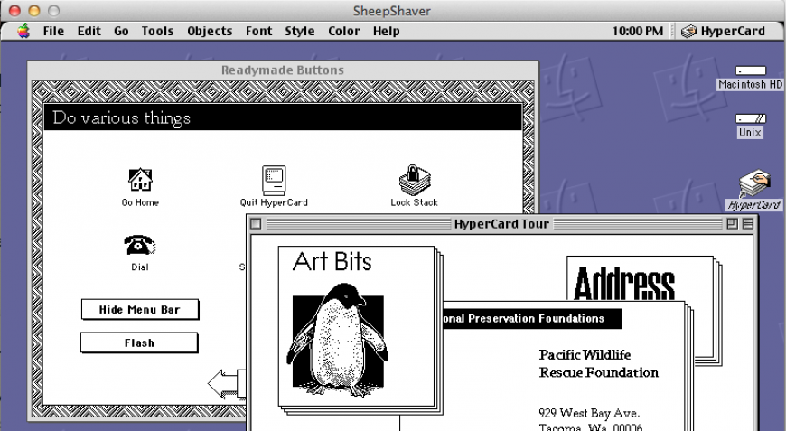 Hypercard in SheepShaver emulator